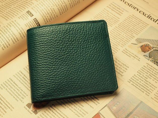 緑の財布(二つ折り)